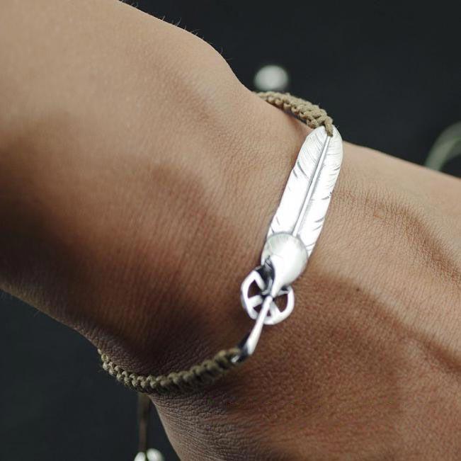 Silver Feather Bracelet Men Hot
