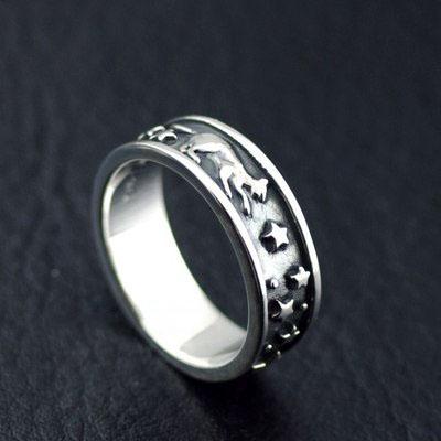 Japan Gothic Jewelry Good Vibrations Sasuke Stars And Moon Midnight Dream Silver Gothic Ring (Men Ring)