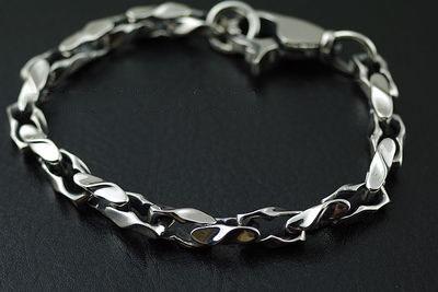 Japan Gothic Jewelry 925 Sterling Silver Simple Twisted Pattern Gothic Silver Bracelet (Men Bracelet)