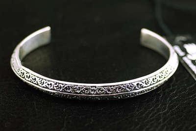Japan Gothic Jewelry Good Vibrations Fine Arabesque Pattern 925 Sterling Silver Bangle (Men Bracelet)