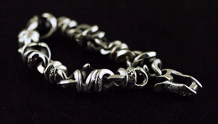 Japan Gothic Jewelry 925 Sterling Silver Set Black Bead Gothic Silver Bracelet (Men Bracelet)