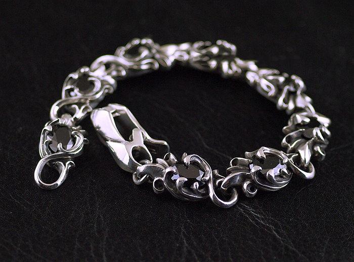 Japan Gothic Jewelry 925 Sterling Silver Flower Vine Design Set Black Diamond Gothic Silver Bracelet (Men Bracelet)