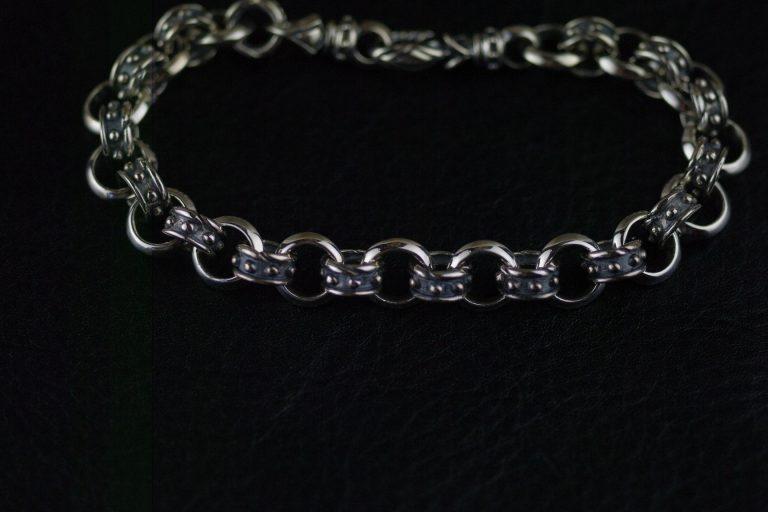 Japan Gothic Jewelry 925 Sterling Silver Gothic Silver Fine Round Ring Bracelet (Men Bracelet)