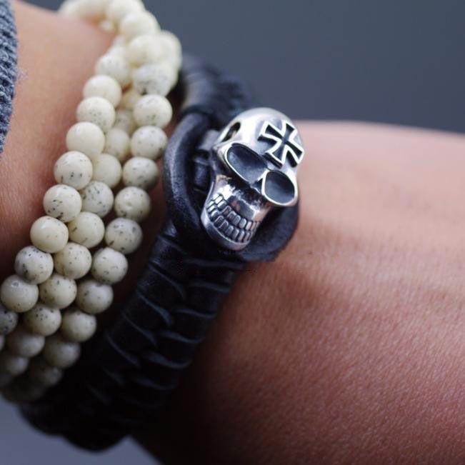 Japan Gothic Jewelry 925 Sterling Silver Skeleton Bucket And Leather Bracelet (Men Bracelet)