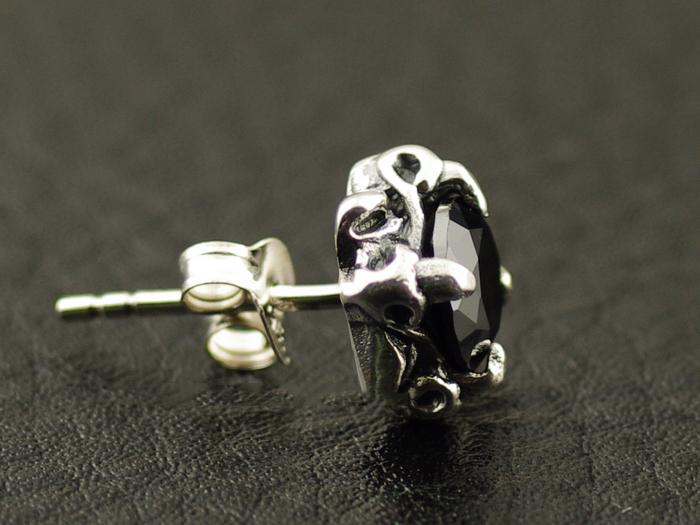 Japan Gothic Jewelry Onyx Black Diamond Dragon Claws Gothic Silver Earstud (Men Earring)