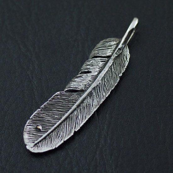 Japan Gothic Jewelry 925 Sterling Silver goro Retro Style Feather Pendant (Men Pendant)
