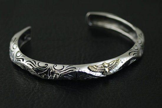 Japan Gothic Jewelry Origin 925 Sterling Silver goro Style Eagle Tolem Arabesque Pattern Bangle (Men Bracelet)