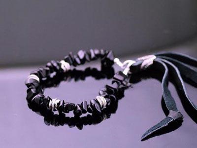 Japan Gothic Jewelry Japanese Black Crystal Leather Tassels Gothic Silver Bracelet (Men Bracelet)
